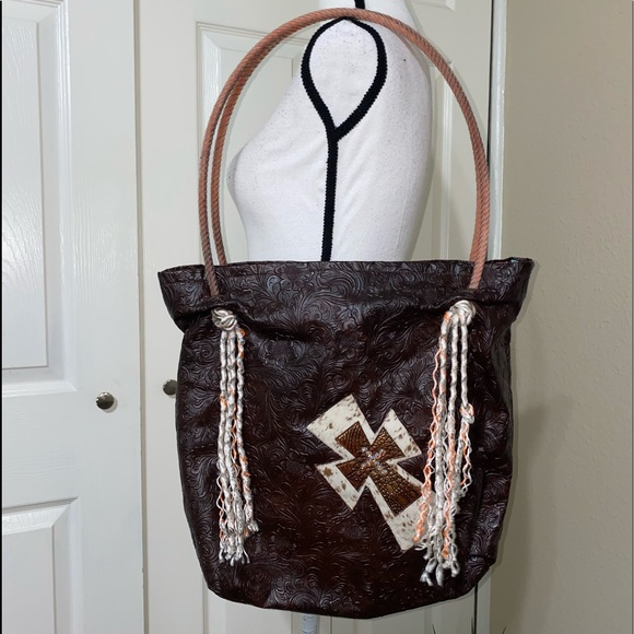 Handbags - Western calf rope hide cross purse